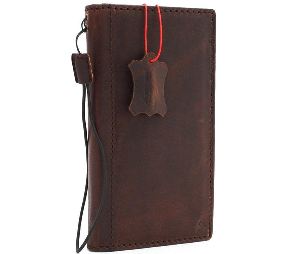 Genuine vintage leather case for oneplus 6 book wallet cover slim handmade Suede brown style cards slots slim daviscase