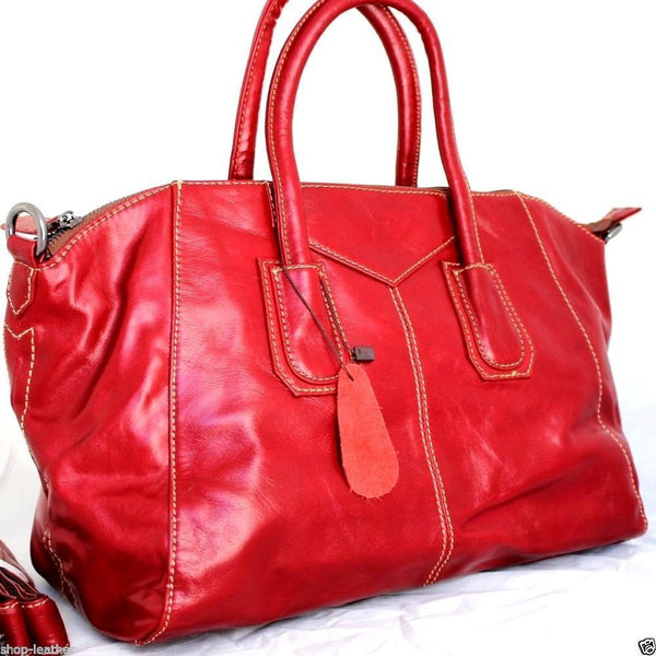 Genuine vintage real leather bag for woman classic design red wine soft tote Handbag lady