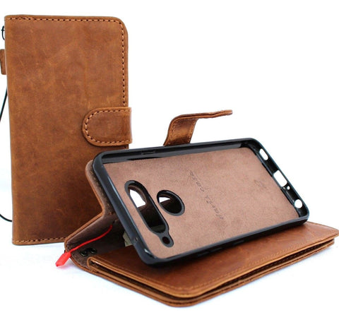 Genuine leather case for lg v40 ThinQ book wallet cover soft vintage detachable cards slots slim magnetic holder daviscase