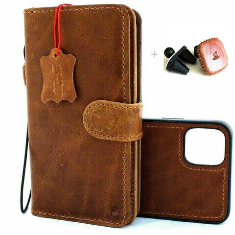 "Genuine Natural Leather Case For Apple iPhone 11 PRO (5.8"") Cover Vintage Wallet Credit Car Holder Magnetic Book Removable Detachable Luxury Holder + Magnetic Car Holder"