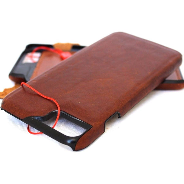 genuine vintage leather Case fit for iphone 8 plus book slim holder cover Luxury