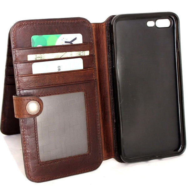 Genuine full leather case for iPhone 8 book wallet closure cover 10 credit holder cards slots luxury brown Rfid Pay daviscase