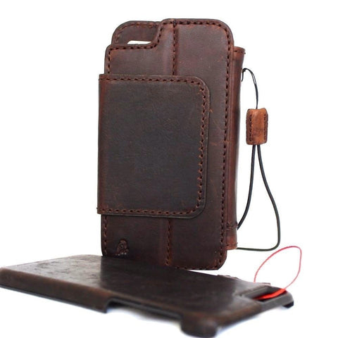 Genuine italian leather iPhone 7 safe case cover wallet credit holder book Removable