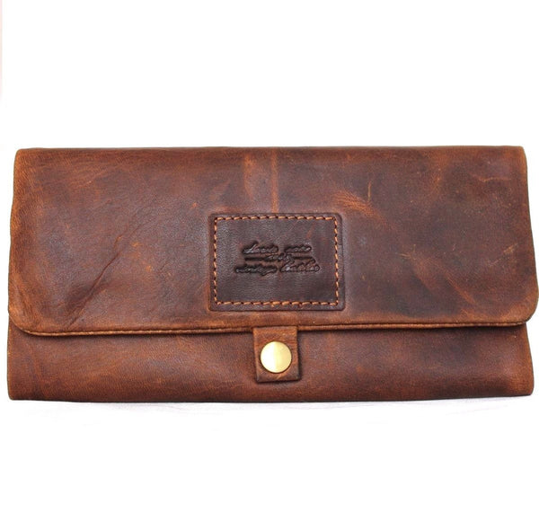 Genuine Leather Wallet Hookah Cigarette Tobacco Pouch Case Rolling Paper Retro brown daviscase