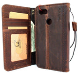 Genuine Vintage Leather Case for Google Pixel 3 XL Book Wallet Handmade holder Retro Luxury magnetic Brown Jafo 1948