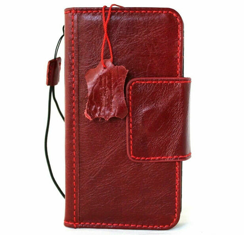 Genuine Soft Leather Case For Apple iPhone 12 Book Wallet Vintage Style Credit Cards Slots Magnetic Closure Red Cover Full Grain DavisCase