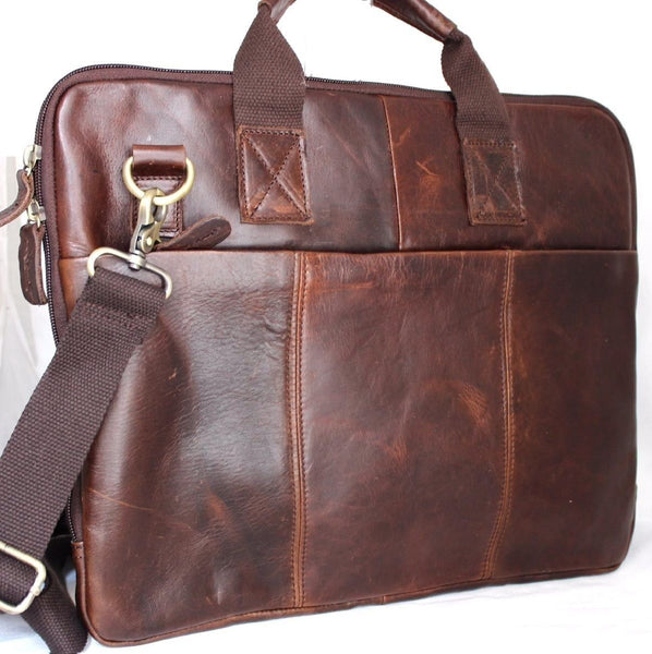 Genuine real Leather Shoulder hand Bag Messenger man crossbody Business laptop R brown classic daviscase