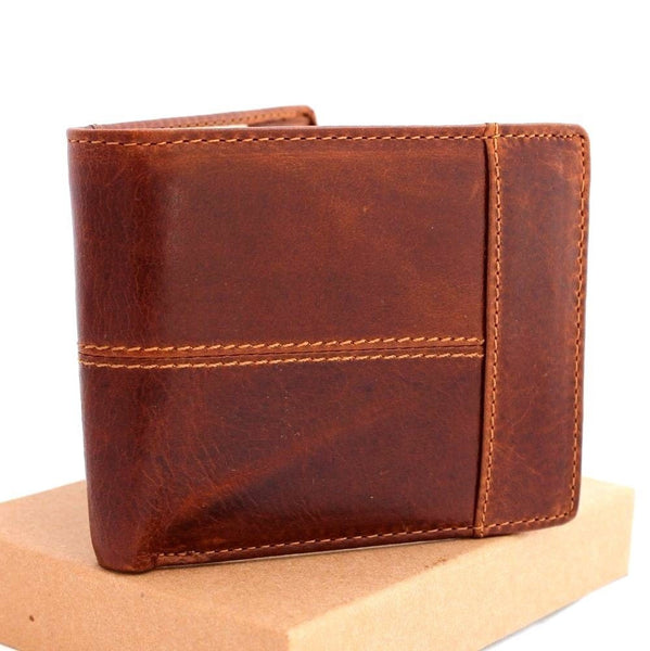 Men's Full Leather Wallet 8 Credit Card Slots 1 ID Window 2 Bill Sections Bi-fold Tan Daviscase