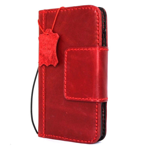 Genuine REAL leather case for  iPhone 7 plus magnetic Red cover wallet credit holder book luxury Rfid Pay