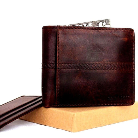 Men's Natural Leather Wallet 7 Credit Card slots 1 id window 1 Coin Pocket Bills