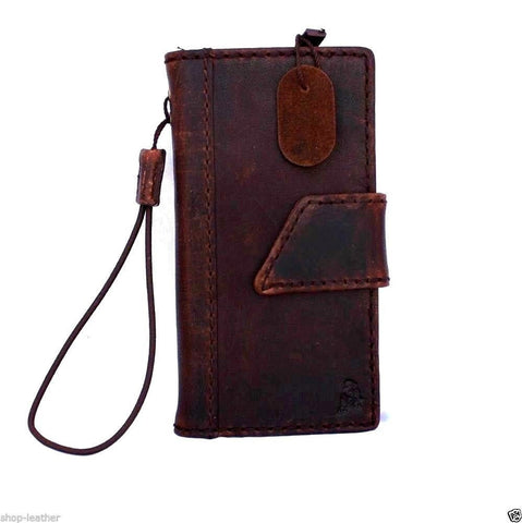 genuine vintage leather hard case for iphone 4 4s cover book wallet luxury bracket brown