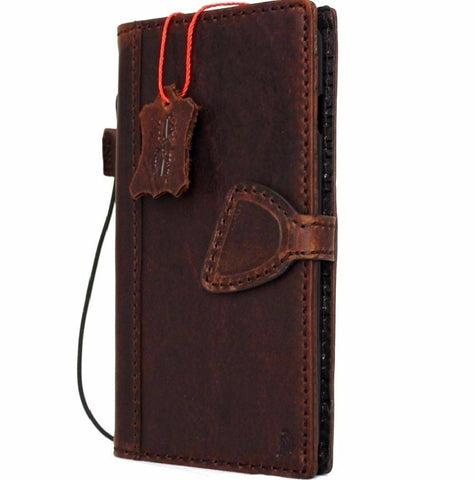 Genuine Dark Full Leather case for iPhone SE 2 2020 cover book wallet credit cards high quality magnetic slim D design Wireless charging Davis