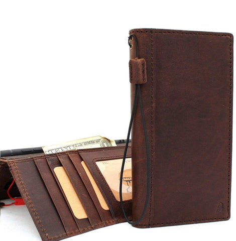 Genuine Vintage Leather case for Samsung Galaxy Note 9 book Wallet Cover cards slots dark brown slim daviscase handmade