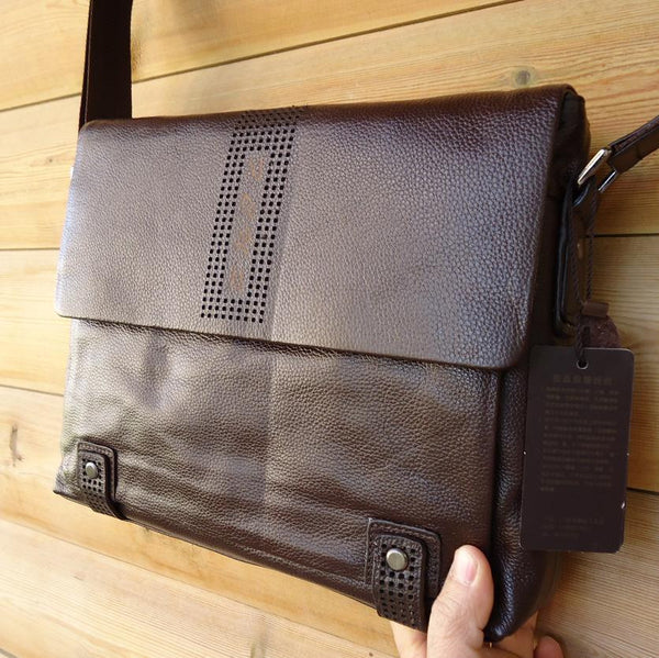 Genuine Leather Bag Messenger laptop Business Design brown handbag 14 15 tote classic vintage