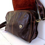 Genuine natural 100% leather woman bag brown purse tote lady retro Vintage style