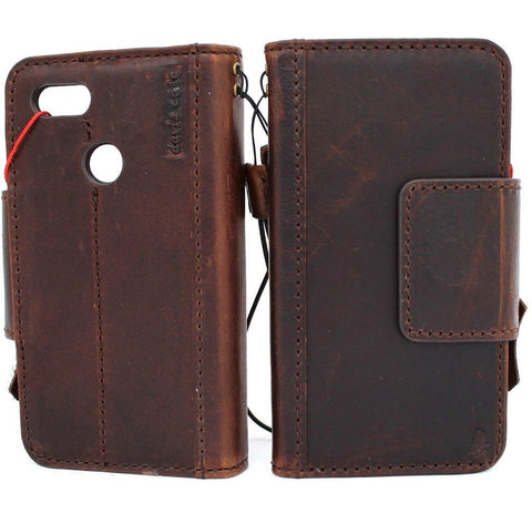 Genuine Real Dark Leather Case for Google Pixel 3 XL Book Wallet Handmade holder Retro Luxury magnetic Jafo 1948