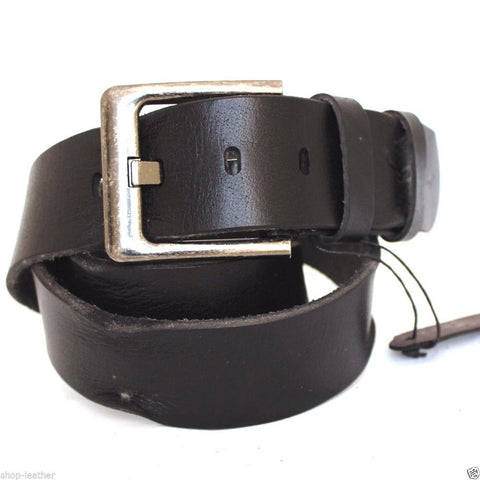 Genuine full Leather belt 43mm for mens womens Waist handmade classic black size L daviscase