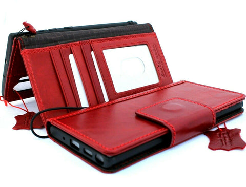 Genuine vintage leather case for samsung galaxy note 10 plus book wallet soft holder slots rubber Magnetic closure Red Jafo