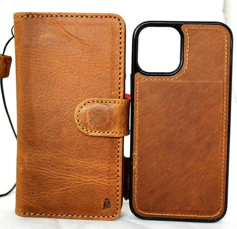 Genuine Tan Leather Case For Apple iPhone 12 PRO Book Wallet Vintage ID Window Credit Cards Slots Soft Cover Magnetic Detachable Full Grain DavisCase
