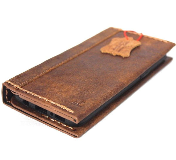 Genuine handmade leather case for Samsung Galaxy S8 Plus book wallet cover Cards slot soft brown jafo 48 design