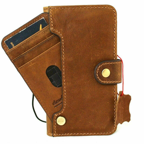 Genuine Natural Tan Leather Case For Apple iPhone 12 PRO Book Wallet Vintage Design ID Window Credit Cards Slots Soft Cover Top Grain DavisCase