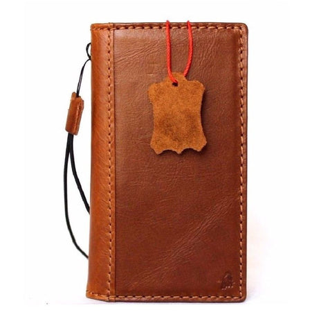 Genuine Tan Leather iPhone 8 classic Case cover wallet credit holder book luxury rubber Davis