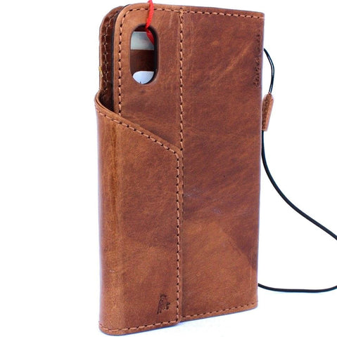 Genuine Leather Case for iPhone XS book wallet magnet closure cover Cards slots Slim vintage bright brown Daviscase 3D