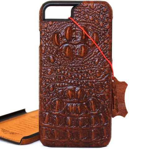 Genuine REAL cow leather iPhone 8 case crocodile atyle cover wallet credit holder book luxury
