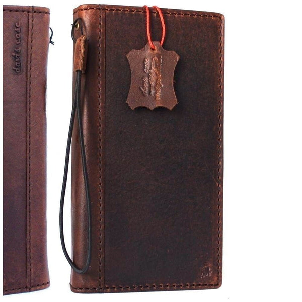 Genuine real leather Case for Oppo R11 Plus book wallet cover Cards slots id cover hand made Art dark brown slim daviscase