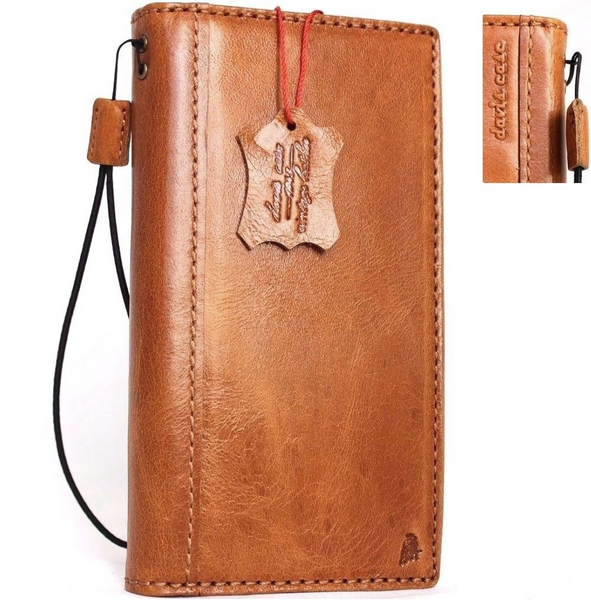 Genuine italian leather Case for Samsung Galaxy S8 book wallet handmade cover slim light brown thin cards slots Businesse daviscase