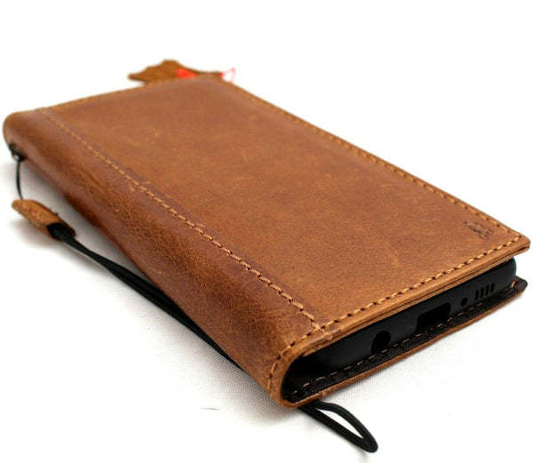 Genuine leather Case for Samsung Galaxy S10e book wallet cover Cards strap charging Tan rubber pro slim daviscase