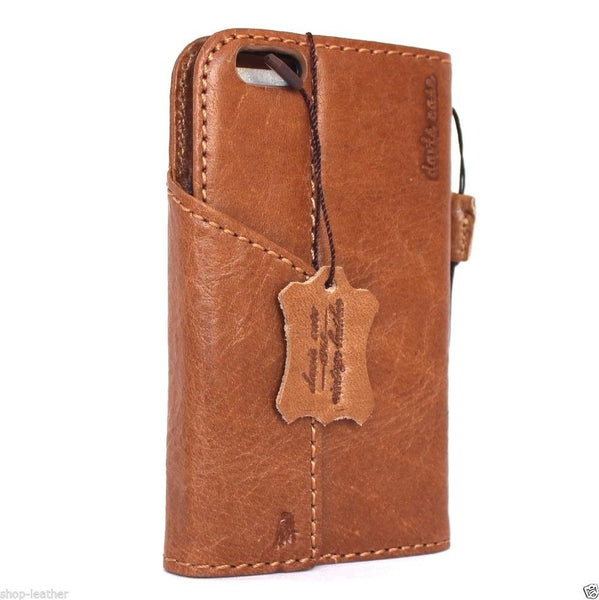 genuine oiled italy slim leather case for iphone 6  4.7 cover book wallet credit card bracket