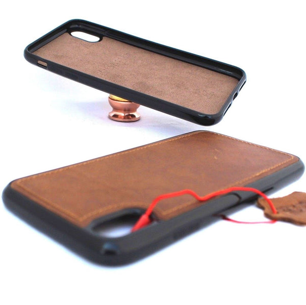 reputable site c3870 dd91d Genuine real leather for apple iPhone XS MAX case cover prime vintage slim  high quality magnetic car Jafo 48