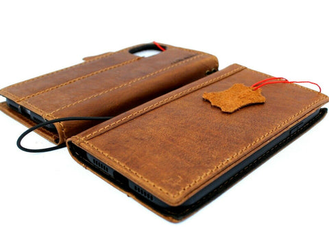 "Genuine Real Leather case for Apple iPhone 11 (6.1"") Cover Wallet Credit Holder Book Wireless Charging Prime Holder Tan Slim Jafo 1948"
