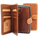 Genuine Real Leather Case for Apple iPhone XS Cover Wallet Credit Holder Magnetic Book Removable Detachable Designed Holder soft + Airpods 2 case