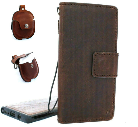 Genuine full leather case for Samsung Galaxy Note 10 soft book wallet cover rubber Handmade Removable strap + Airpods 2