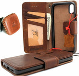Genuine full leather case for apple iPhone XR  cover wallet credit book oiled Removable detachable luxury slim stand + magnetic car holder