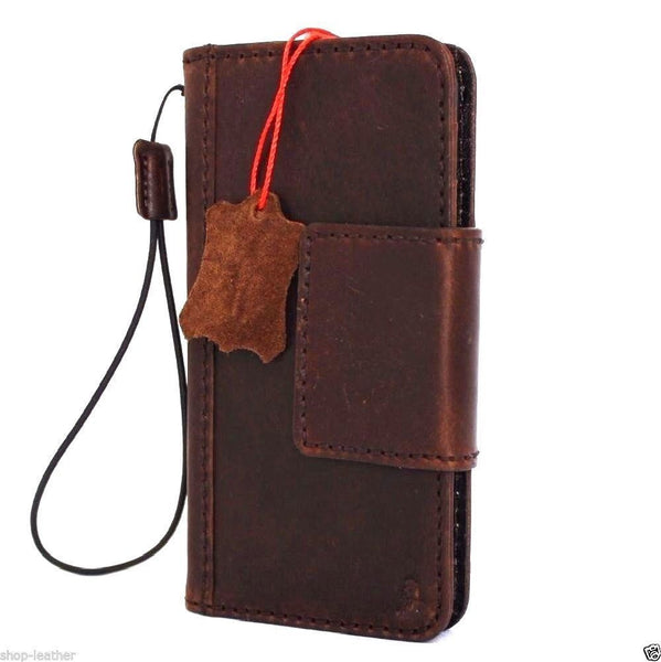 genuine italian full leather Case for Samsung Galaxy S8 Plus book handmade wallet brown strap magnetic