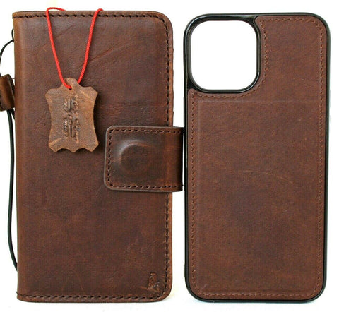 Genuine Soft Leather Case For Apple iPhone 12 Pro Max Book Wallet Vintage Style ID Window Credit Card Slots Soft Removable Magnetic Cover Full Grain DavisCase