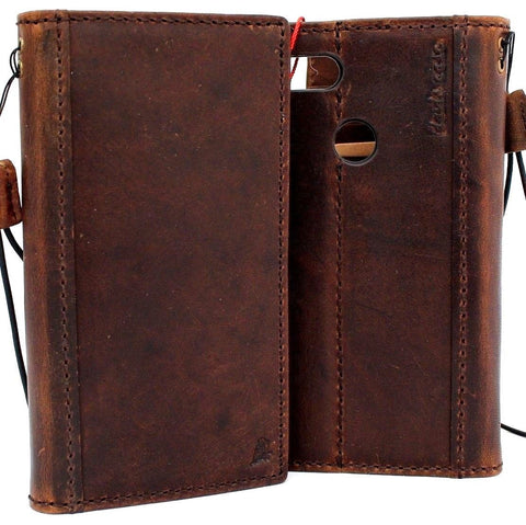 Genuine Vintage Dark Leather Case for Google Pixel 3 XL Book Wallet Handmade holder Retro Luxury Davis 1948