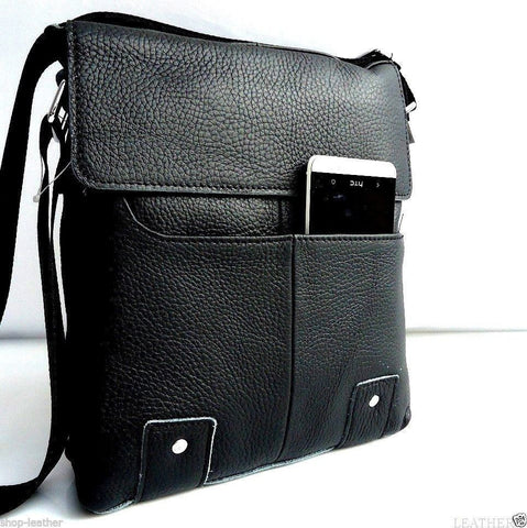 Genuine Leather Shoulder Bag Messenger black real handbag classic vintage crossbody 15 14 12 3