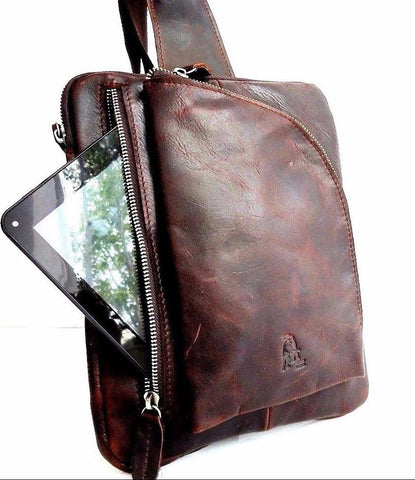 Genuine Leather Bag Messenger for iPad Notebook Student handbag men's air 4 3 10 cross body brown