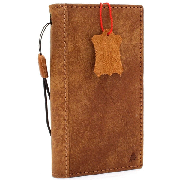 Genuine vintage leather Case for Samsung Galaxy S9 book wallet handmade Tan cover s Businesse daviscase
