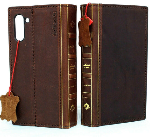 Genuine full leather case for samsung galaxy note 10 book bible wallet cover Window art rubber Handmade slim stand