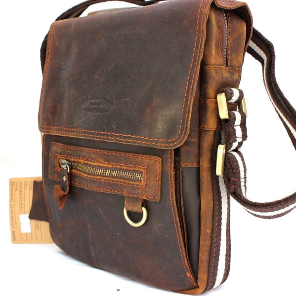 Genuine Leather Bag Messenger for iPad air 4 retro cross body Shoulder Satchel brown daviscase mini Jafo