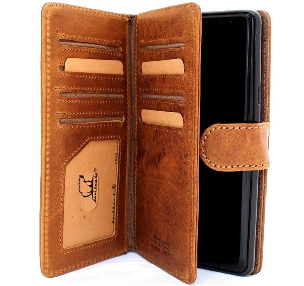 newest 69d20 91794 Genuine leather case for samsung galaxy note 9 book wallet cover soft  vintage detachable cards slots slim magnetic holder daviscase