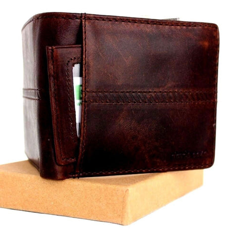 GENUINE VINTAGE LEATHER WALLET for Men Natural Leather  7 Credit Card slots 1 id window 1 Coin Pocket Bills slim brown daviscase