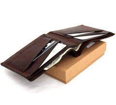 Men's real Leather wallet 4 Credit Card Slots 1 Bill Compartment Slim Handmade brown daviscase