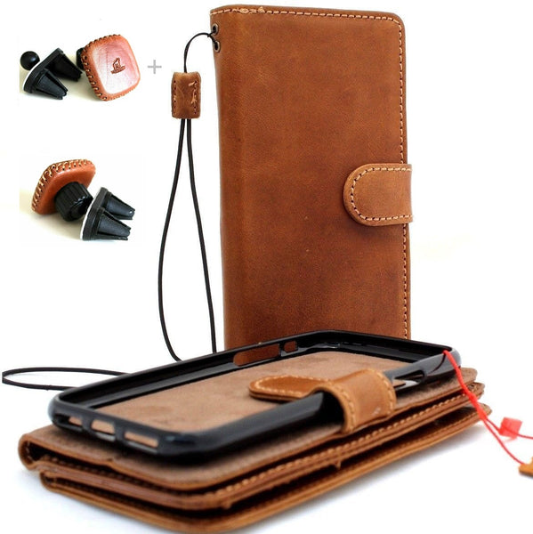 Genuine Real leather Removable case for iPhone 8 Plus removable cover book wallet card id magnetic flip slim soft holder rubber + Magnetic Car Holder Davis