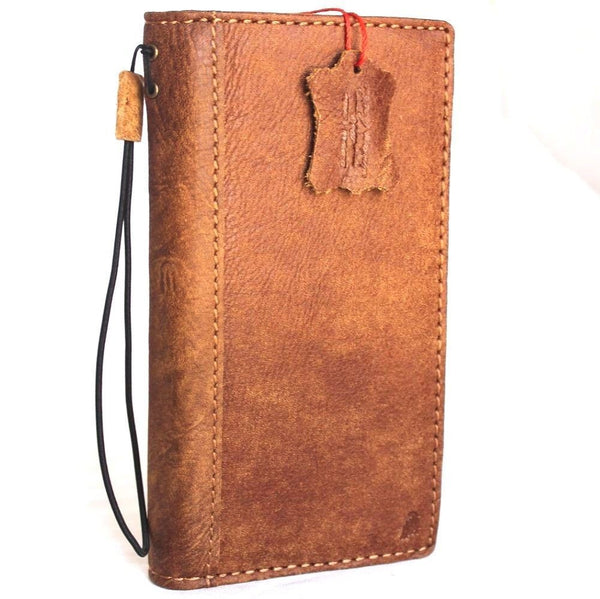 Genuine Leather Case for Samsung Galaxy S8 Plus book wallet cover Credit Cards slots id window Vintage Brown slim Daviscase